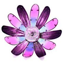 Painted Metal & Glass Pink Blue Flower Hanging Solar Light Garden Decor image 5