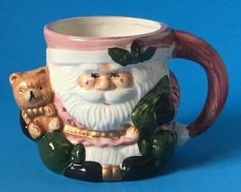 "Victorian Santa Claus and Teddy Bear Christmas Mug Ceramic Large 4"" - $9.95"