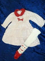 Le Top Baby Girl Plaid Flannel Red Ruffle Tier Dachshund Dog Dress Tight... - $19.79