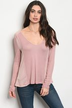 Ladies fashion long sleeve relaxed fit thermal top that features a v neckline image 3