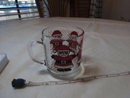 Luminarc France Vintage Christmas GLASS MUG RARE Santa Claus cup clear H... - £14.37 GBP