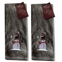 Snowman Winter Hand Towels Set of 2 Dark Gray Embroidered Christmas - $26.32