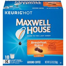 Maxwell House Breakfast Blend K-Cup Coffee Pods, 18 ct Box Pack of 4 - $40.10