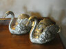 Hand Cast Quality Metalware,beautiful Trumpeter Swans, home decor, colle... - $88.71