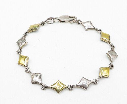 925 Sterling Silver - Vintage Two Tone Patterned Link Chain Bracelet - B5407