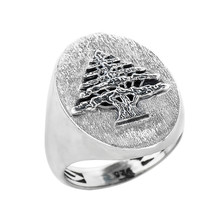 Sterling Silver Lebanese Cedar Tree of Lebanon Mens Statement Ring - $79.99