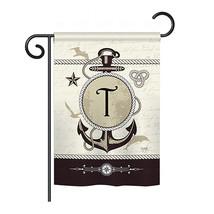 "Nautical T Initial - 13"" x 18.5"" Impressions Garden Flag - G180202 - $19.97"