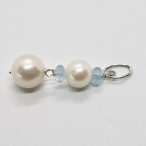 Charm 18k 750 White Gold with white pearls freshwater and Aquamarine image 2