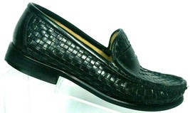 Cole Haan Women's Black Leather Woven Basket Weave Penny Loafers Size 5 B - $34.68