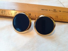 "1 7/8"" Wide NAPIER Navy Blue Rounds Gold Tone Clip On Earrings - $13.40"