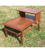 Vintage Step Up Side End Table Mid Century Modern w Brass Feet Local SC ... - $124.95