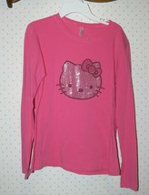 Hello Kitty Juniors  Sequins Bling Cat Long Sleeve Top Womens tk - $14.99