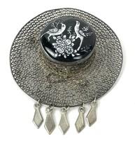 Vtg Antique Hat Brooch Silver Filigree Black Enamel Birds Flowers Dangle... - $59.39