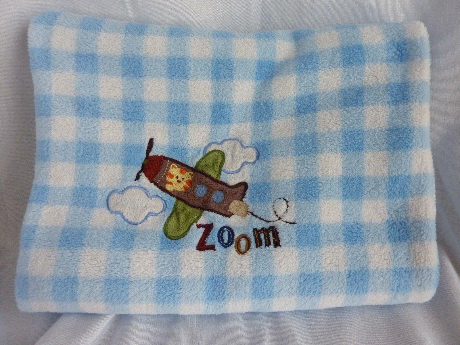 e87e721b7cf Garanimals ZOOM Airplane Baby Blanket Blue White Gingham Check Security  Lovey - $18.57