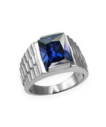 Sterling Silver Mens Square CZ September Birthstone Watchband Ring - $64.99