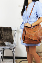 JOANNE handmade leather bag with studs image 5
