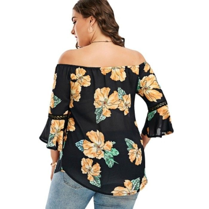 Plus Size Floral Chiffon Off The Shoulder Hawaiian Blouse