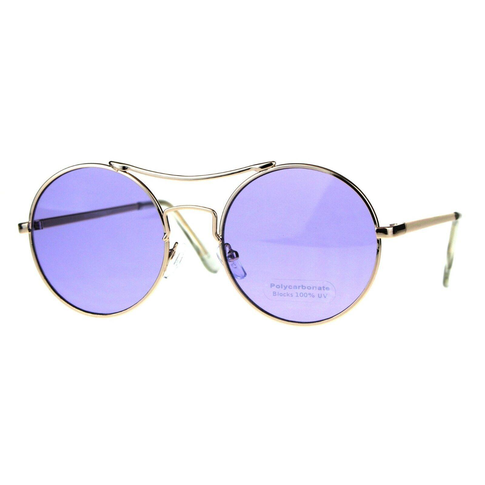 Vintage Fashion Womens Sunglasses Round Circle Metal Frame Color Lens