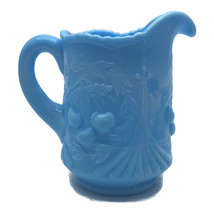 Vtg LE Smith Wreathed Cherries Opaque Blue Slag Glass Pitcher Creamer 4-... - $23.30
