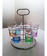 Colorful Pastels Multi Color Shot Glass Set of 6 with Silver Rack Holder  - $30.00