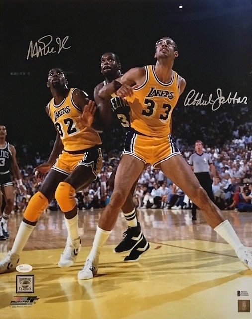 KAREEM ABDUL-JABBAR AND MAGIC JOHNSON AUTOGRAPHED 16X20 PHOTO LAKERS