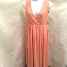 Sz XXL Maxi Dress Peach Chiffon Sleeveless Side Slits - $24.48