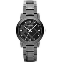 New Burberry BU9183 Black Ceramic Check Stamp Glitz Dial Dress Women's Watch - $440.54