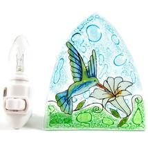 Fused Art Glass Hummingbird & Flower Nightlight Night Light Handmade Ecuador image 1