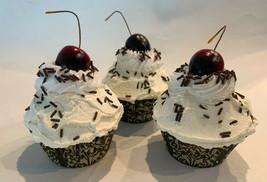 Vanilla w/ Chocolate Sprinkles Cupcakes Set of 3- Faux Cupcake Fake  - $24.74