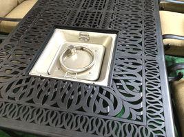 Fire pit dining propane table set 7 piece outdoor cast aluminum patio furniture image 4