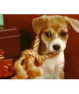 Adorable and Cute Sad Puppy Postcard Don't Forget Me! Suitcase Rope Wood... - $5.85