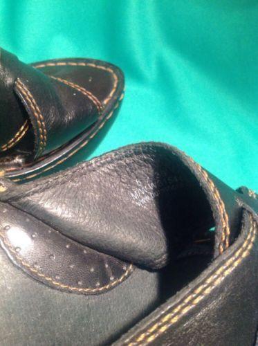 BORN 8M WOMEN'S BLACK LEATHER CRISS CROSS HANDCRAFTED FOOTWEAR SANDALS MRSP $99