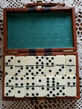 Vintage Boxed Set of Dominoes ~ Travel Game in Storage Box ~ Brass Spinners - $30.00