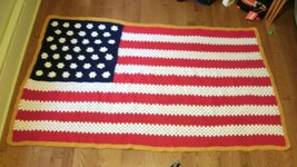 Handmade granny crocheted American Flag afghan throw blanket XL oversize... - $75.99