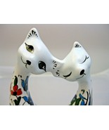 Siamese Cats In Love Bright Colors Floral Cat Figurine Signed Handmade b... - $29.69