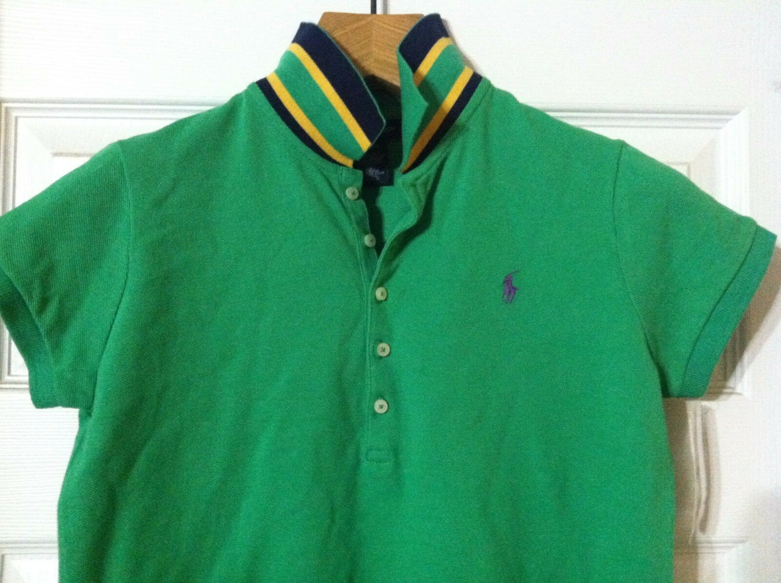 RALPH LAUREN TEENAGE GIRLS NEW GREEN 100%COTTON POLO SHIRT SIZE: XL(16)