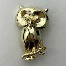 Gold Tone Owl Brooch Pin Vintage Signed AJC Shiny Glossy Cute - $10.90
