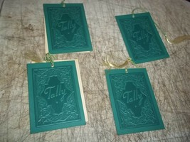 4 PC LOT RARE RAISED LETTERS & DESIGN TALLY BRIDGE SCORE CARDS GREEN WIT... - $17.81