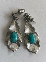 Silvertone Leaf Earrings with Faux Turquoise - $5.00