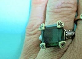 JUDITH RIPKA 18K GOLD GREEN QUARTZ W DIAMONDS STERLING RING S- 7 W RING BOX - $159.95