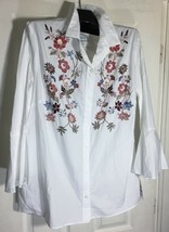 New Charter Club women Plus size 18 Button down shirt bell sleeve embroidered  - $24.74
