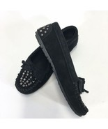 Minnetonka Double Studs Black Suede Moccasin Hard Sole Womans 8.5 - $41.55