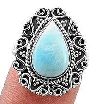 Larimar (Dominican Republic) 925 Sterling Silver Ring Jewelry s.8 SDR2406 - $39.16