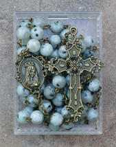 Bronze Prayer Rosary Beads - Immaculate Heart of Mary - 8mm Dalmation Ja... - $34.95