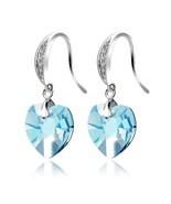 Love Heart Dangle Earrings Swarovski Elements Crystal Fashion Gold Plate... - $11.58