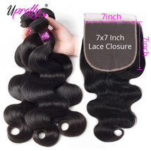 Upretty Hair Body Wave Bundles With Closure 7x7 Lace Closure With Bundle... - $306.20