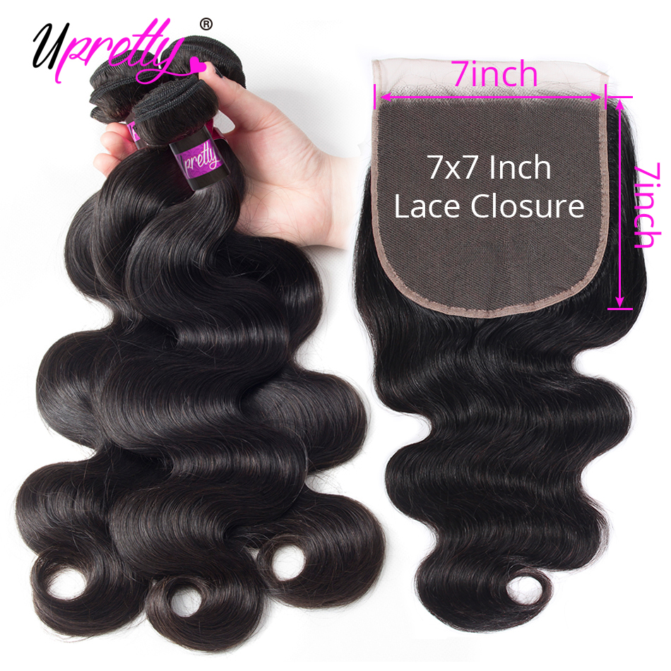 Primary image for Upretty Hair Body Wave Bundles With Closure 7x7 Lace Closure With Bundles Remy B
