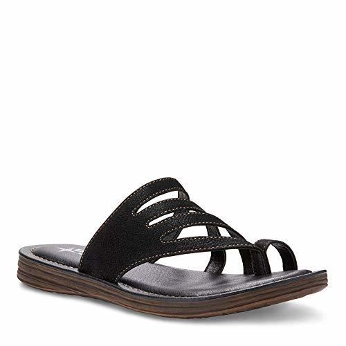 Eastland Women's Thong Slide Flat Sandal, Black, 9