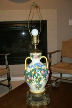 Italian Tole Capodimonte Figs Roses Pears Urn Lamp Dolphin Filigree Chic Shabby - $123.49