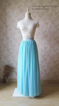 Aqua Blue Tulle Skirt and Top Set Elegant Plus Size Wedding Bridesmaids Outfit image 7